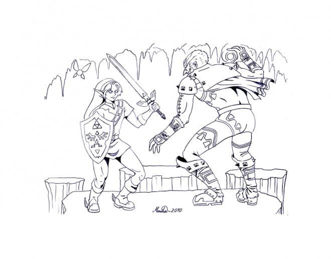 Coloriage et dessins gratuits Zelda en Combat à imprimer