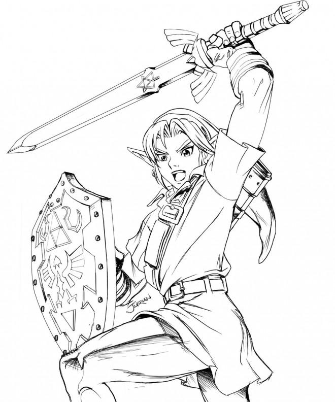 Coloriage Zelda Guerrière Dessin Gratuit à Imprimer