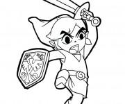 Coloriage et dessins gratuit Zelda Link avec son Épée à imprimer