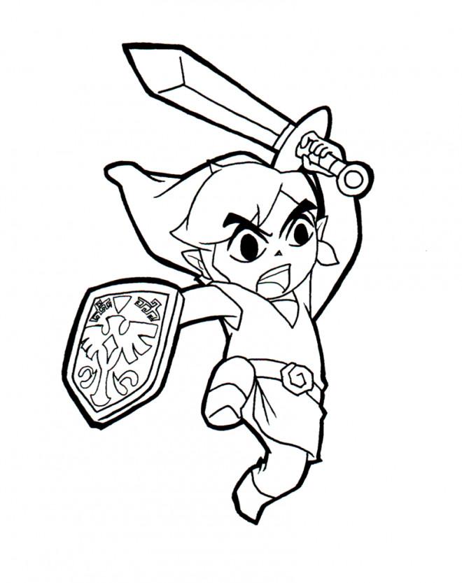 Coloriage et dessins gratuits Zelda Link avec son Épée à imprimer
