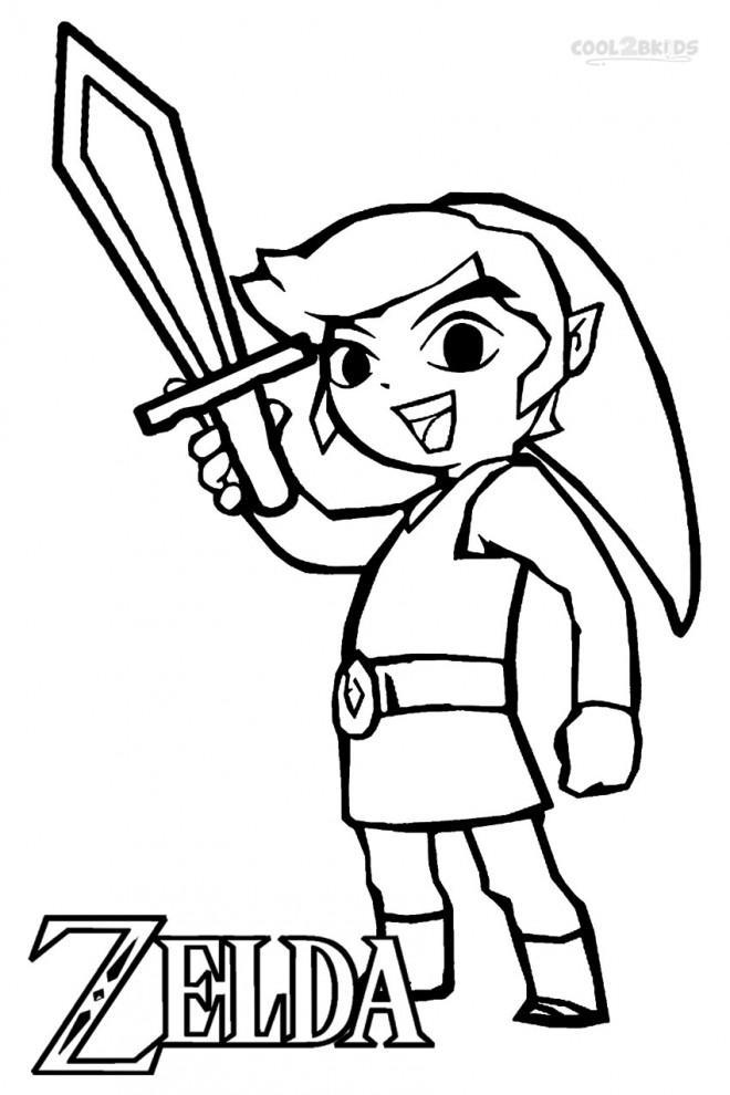 Coloriage Zelda Link Facile Dessin Gratuit à Imprimer