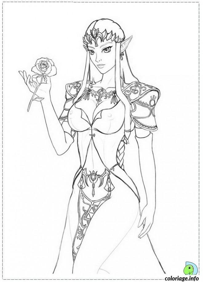 Coloriage et dessins gratuits Zelda porte une Fleur à imprimer