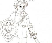 Coloriage et dessins gratuit Zelda pour découpage à imprimer