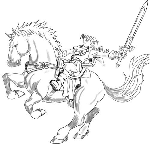 Coloriage et dessins gratuits Zelda sur Le cheval magique à imprimer