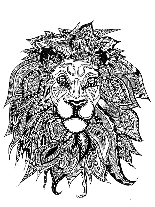 Coloriage Zen Lion Art dessin gratuit