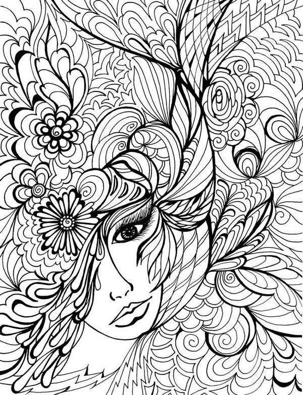 Coloriage et dessins gratuits Adulte Femme vecteur à imprimer
