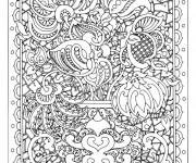 Coloriage et dessins gratuit Adulte Fleurs dans Un Tableau à imprimer