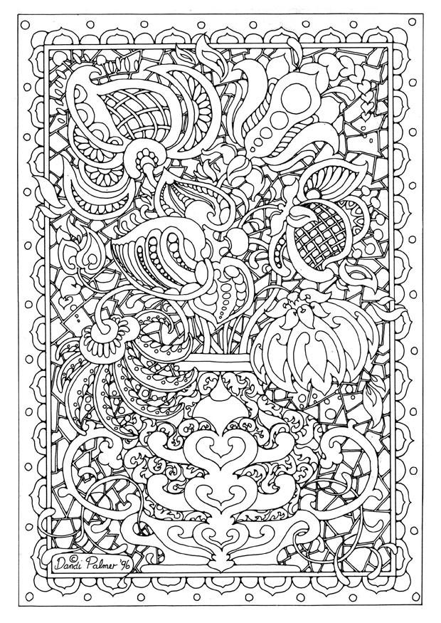 Coloriage et dessins gratuits Adulte Fleurs dans Un Tableau à imprimer