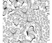 Coloriage et dessins gratuit Adulte Jardin et Papillon à imprimer