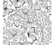 Coloriage Adulte Jardin et Papillon