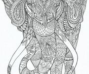 Coloriage et dessins gratuit Anti-Stress Éléphant mandala à imprimer