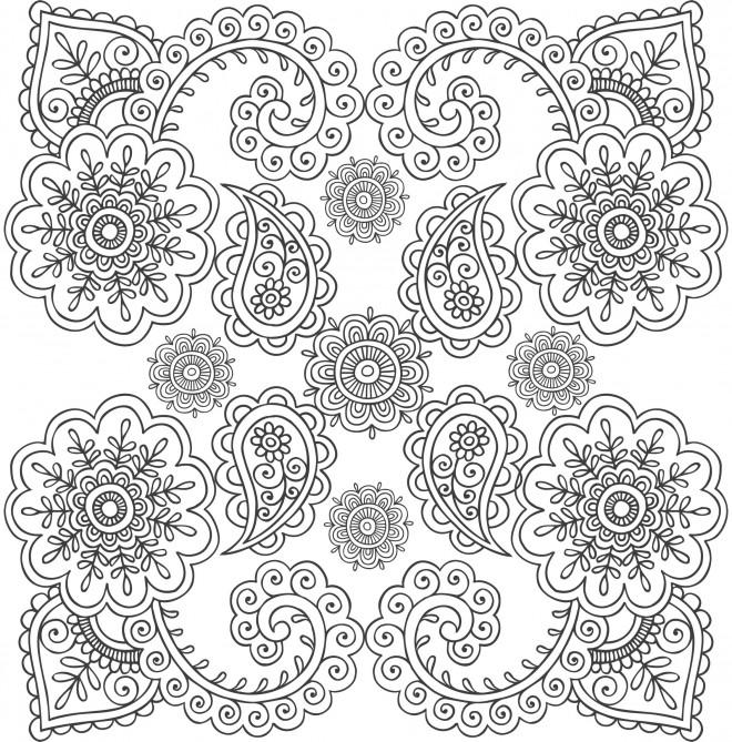 Coloriage Anti-Stress mandala Fleurs Art dessin gratuit à ...