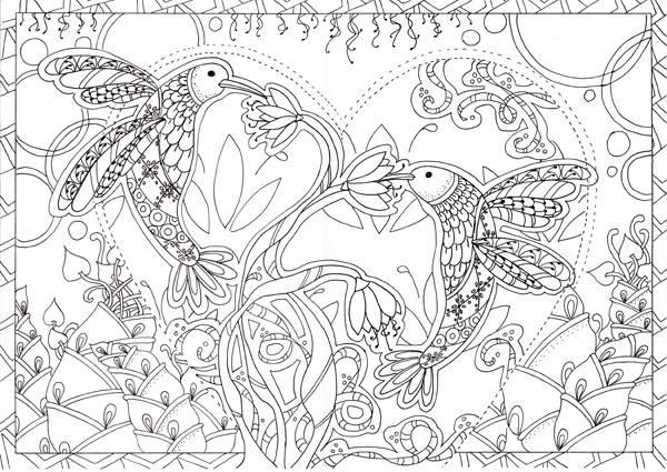 Coloriage et dessins gratuits Anti-Stress Oiseaux à imprimer