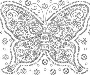 Coloriage Papillon Adulte Fleuri