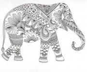 Coloriage Zen Animaux Éléphant