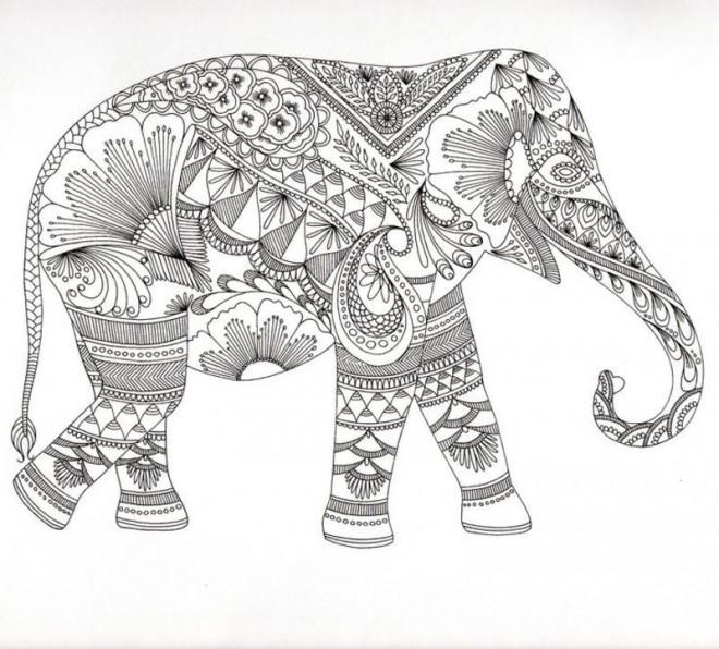 Coloriage Zen Animaux Elephant Dessin Gratuit A Imprimer