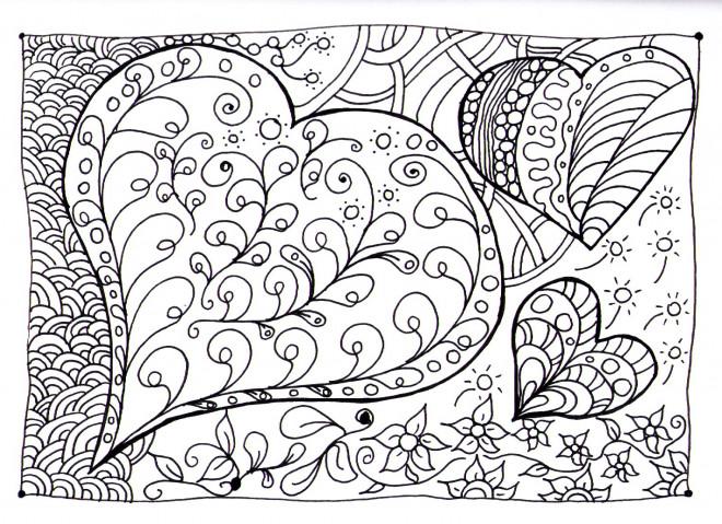 Coloriage et dessins gratuits Zen Coeurs magique à imprimer