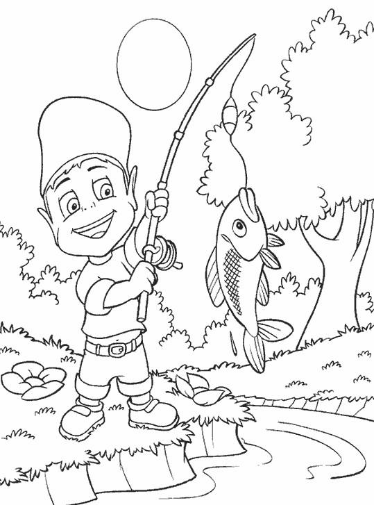 Coloriage et dessins gratuits Adibou a saisi un poisson à imprimer
