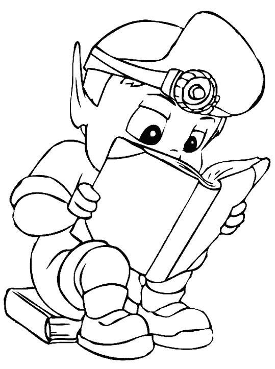 Coloriage et dessins gratuits Adibou entrain de lire à imprimer