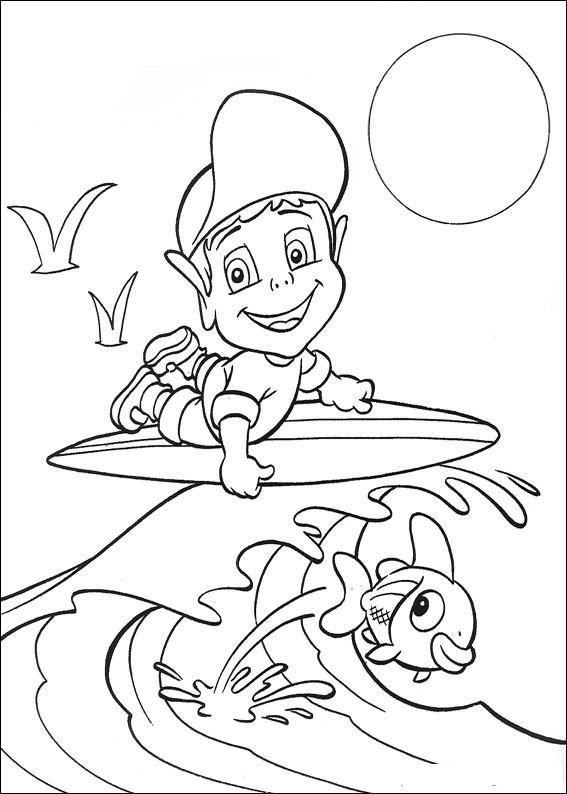 Coloriage et dessins gratuits Adibou entrain de surfer à imprimer