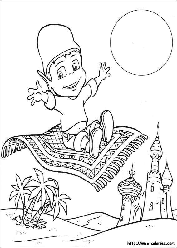 Coloriage et dessins gratuits Adibou entrain de voler sur un tapis volant à imprimer