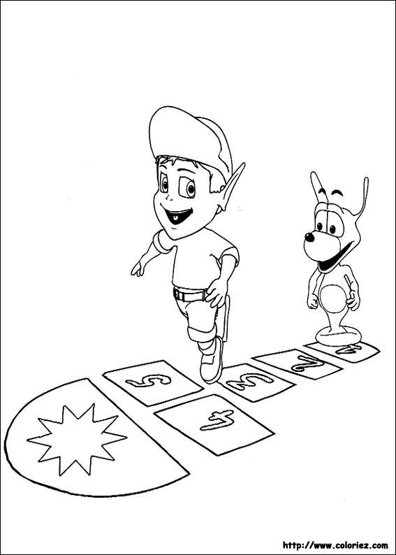 Coloriage et dessins gratuits Adibou et Plop jouent ensemble à imprimer