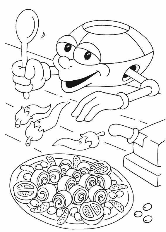 Coloriage et dessins gratuits Adibou Kicook entrain de cuisiner à imprimer
