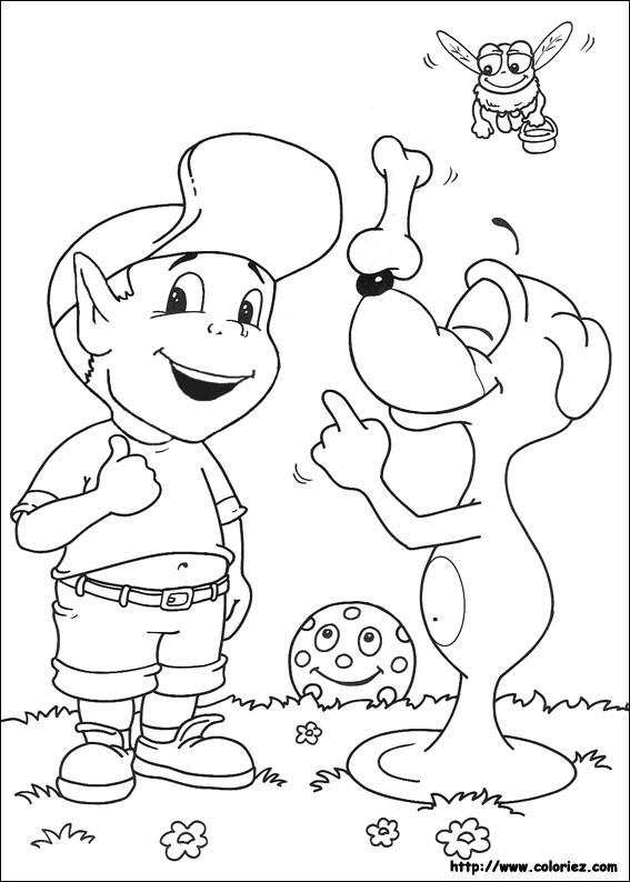 Coloriage et dessins gratuits Adibou parle avec Plop à imprimer