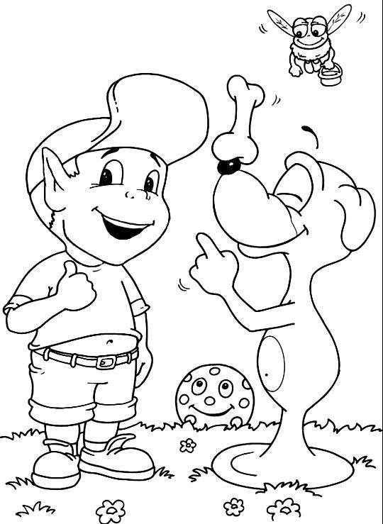 Coloriage et dessins gratuits Adibou rit avec Plop à imprimer