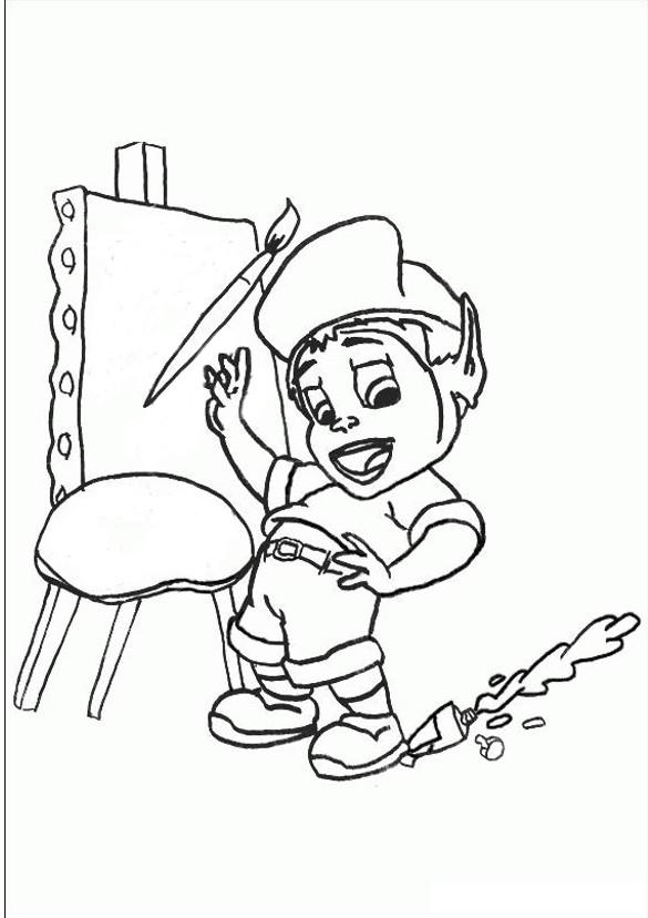 Coloriage et dessins gratuits Adibou se prépare pour dessiner à imprimer
