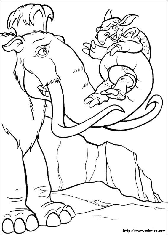 Coloriage et dessins gratuits Manny questionne la tortue aquatique à imprimer
