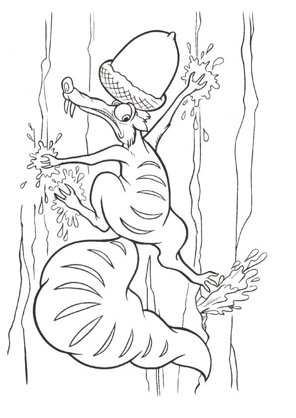 Coloriage et dessins gratuits Scrat avec son trésor à imprimer
