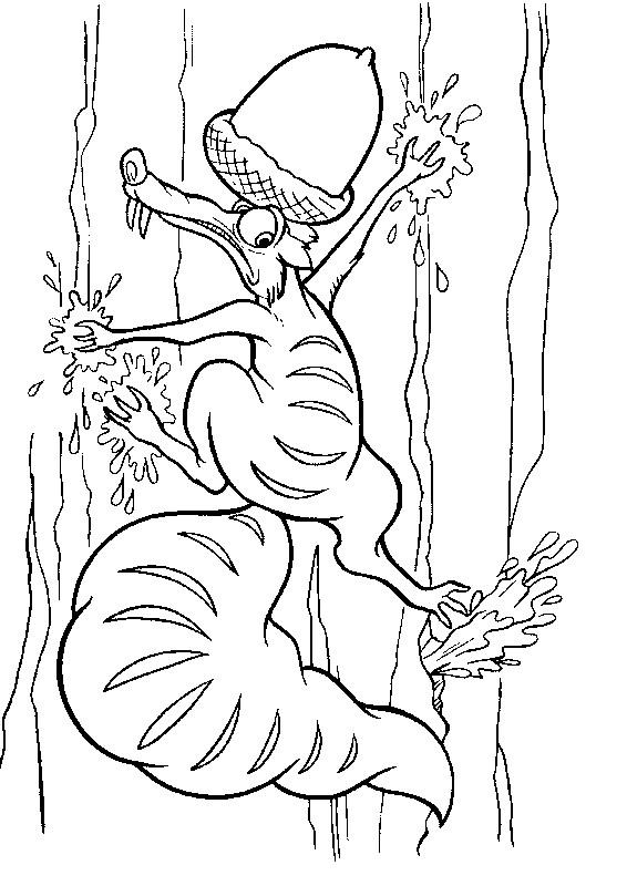 Coloriage et dessins gratuits Scrat risque de tomber à imprimer