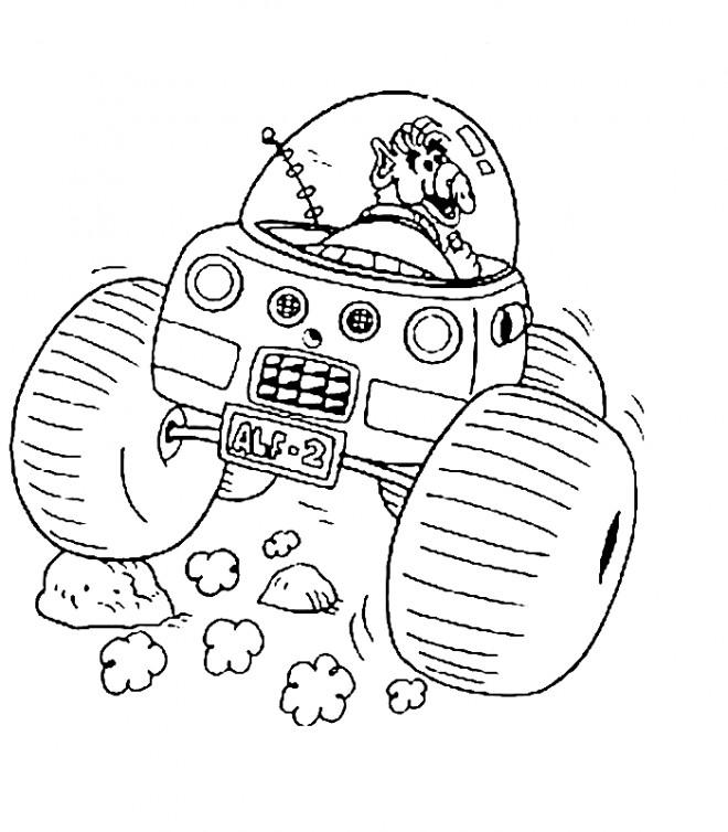 Coloriage et dessins gratuits Alf entrain de conduire à imprimer