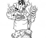 Coloriage et dessins gratuit Alf entrain de manger à imprimer