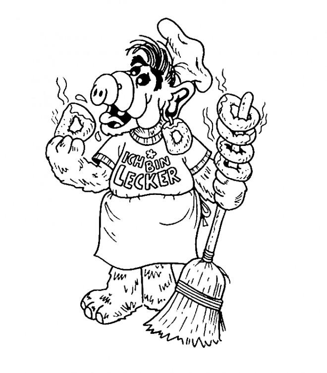 Coloriage et dessins gratuits Alf entrain de manger à imprimer