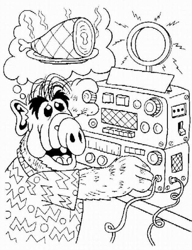Coloriage et dessins gratuits Alf met de la musique à imprimer