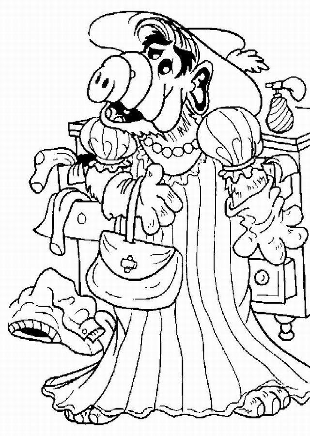 Coloriage et dessins gratuits Alf portant une robe à imprimer