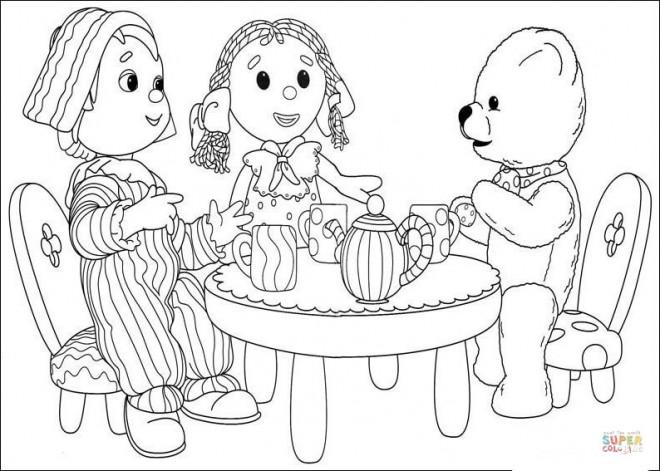 Coloriage et dessins gratuits Andy Pandy avec ses amis à imprimer