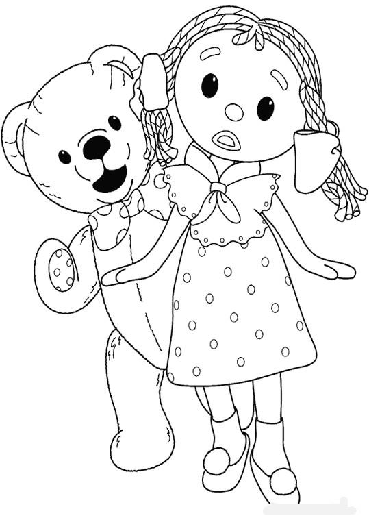 Coloriage et dessins gratuits Looby Loo et Teddy à imprimer
