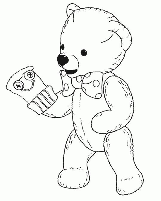 Coloriage et dessins gratuits Teddy s'habille en gant à imprimer