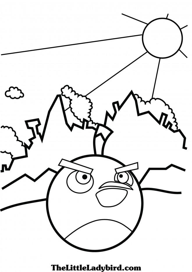 Coloriage et dessins gratuits Angry Birds Bomb stylisé à imprimer
