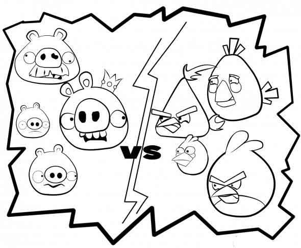 Coloriage et dessins gratuits Angry Birds et leurs ennemis à imprimer