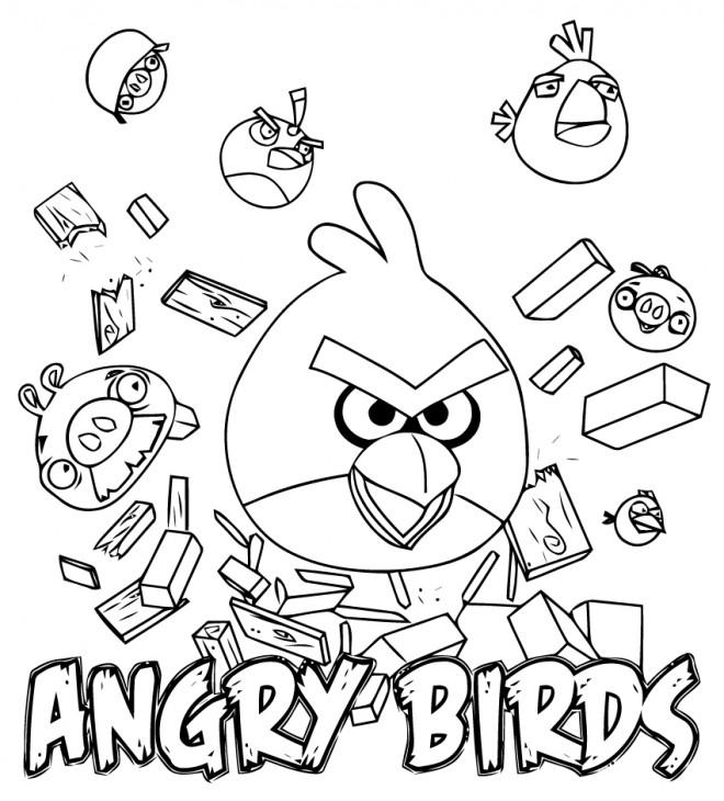 Coloriage Angry Birds Jeu Vidéo Dessin Gratuit à Imprimer