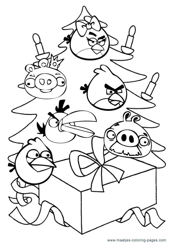 Coloriage Angry Birds Noel dessin gratuit à imprimer