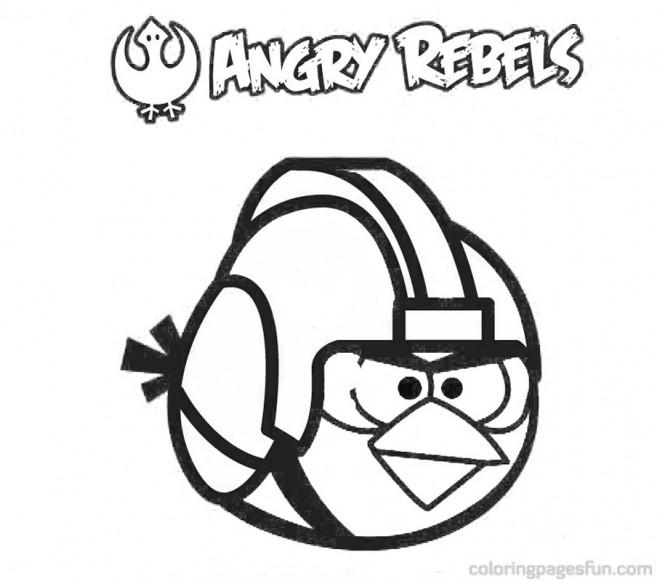 Coloriage et dessins gratuits Angry Birds Red portant Un Casque à imprimer