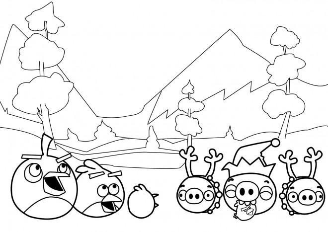 Coloriage et dessins gratuits Angry Birds stylisé à imprimer