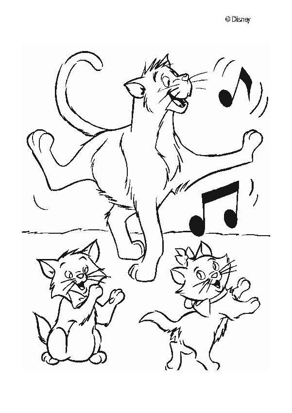 Coloriage et dessins gratuits Aristochats dansent à imprimer
