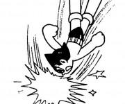 Coloriage et dessins gratuit Astroboy en combat à imprimer