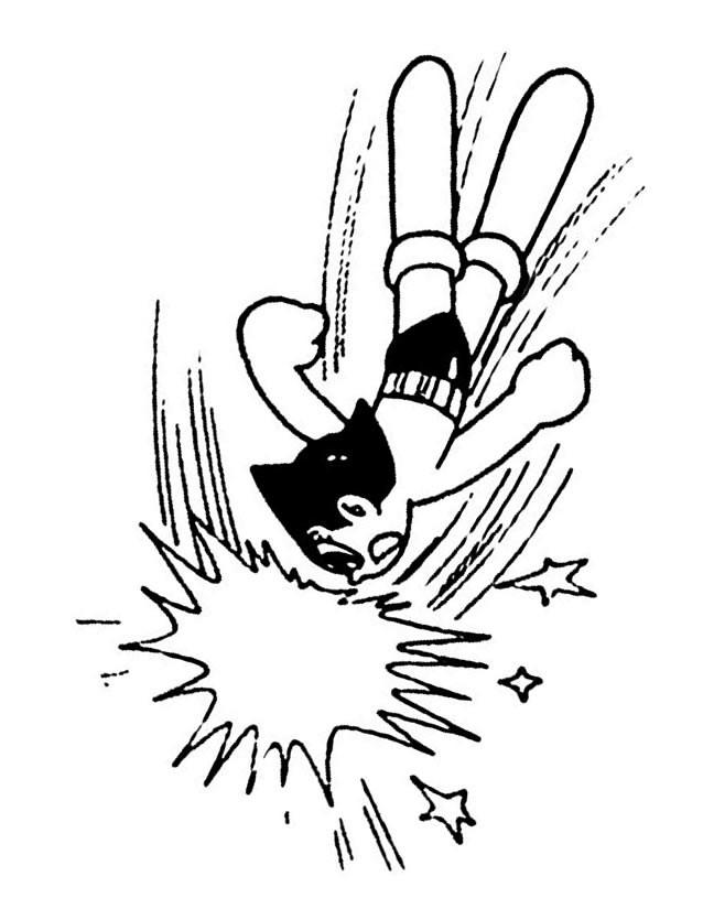 Coloriage et dessins gratuits Astroboy en combat à imprimer